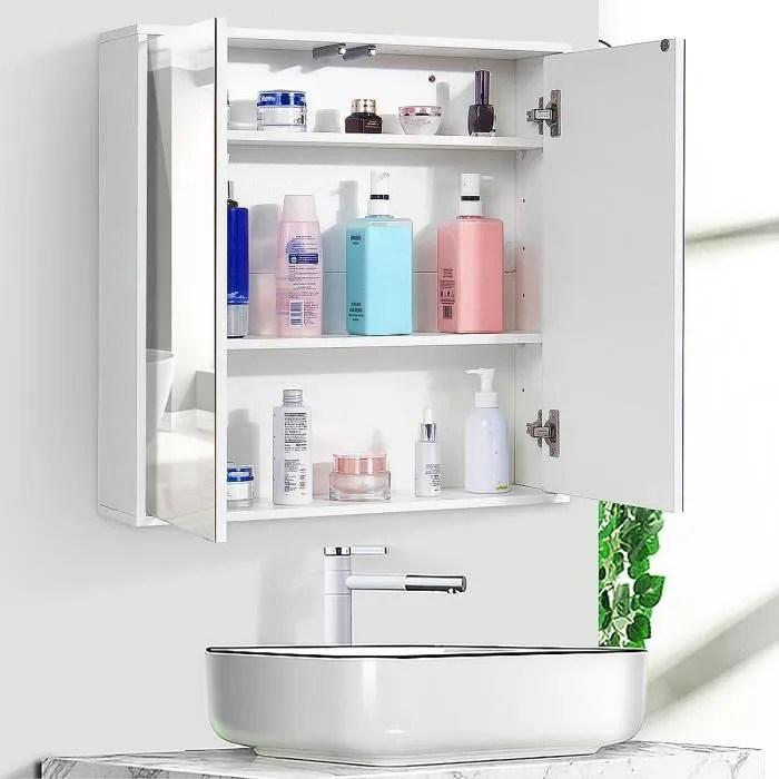 Armoire De Toilette Avec Miroir Et Eclairage Achat Vente Pas Cher