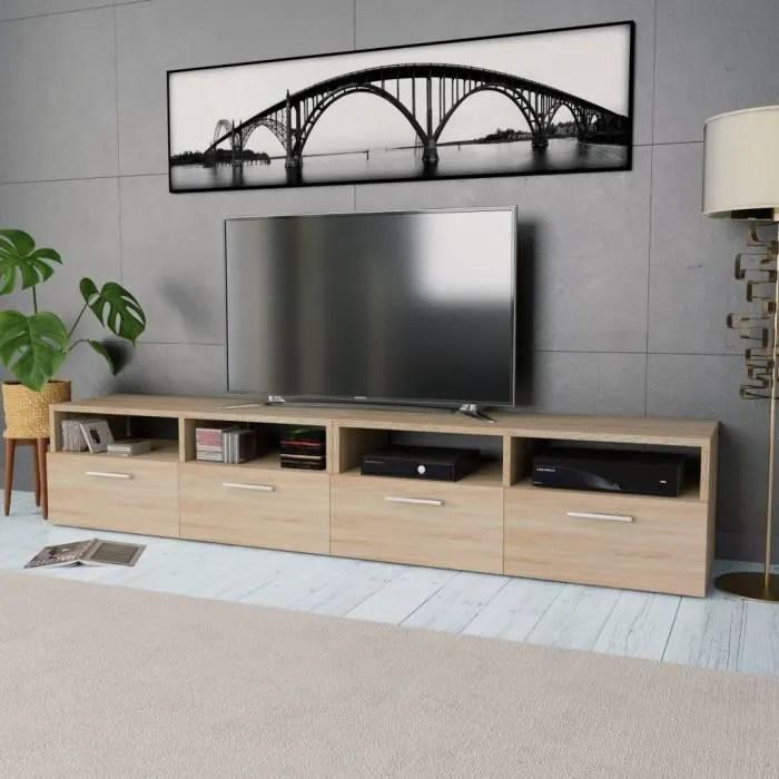meuble tv buffet bas support tele 2 pcs agglomere