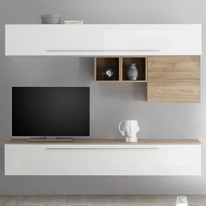 mur tv blanc et couleur bois clair isernia blanc l