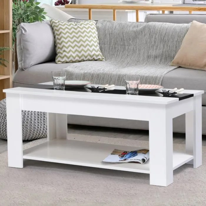 table basse contemporaine bois blanc et