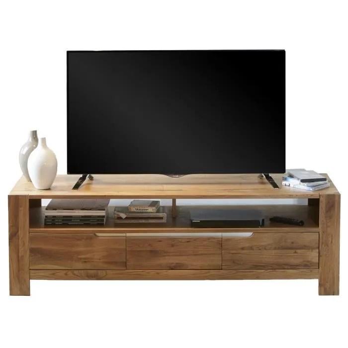 meuble tv coloris chene massif en bois l 160 x p