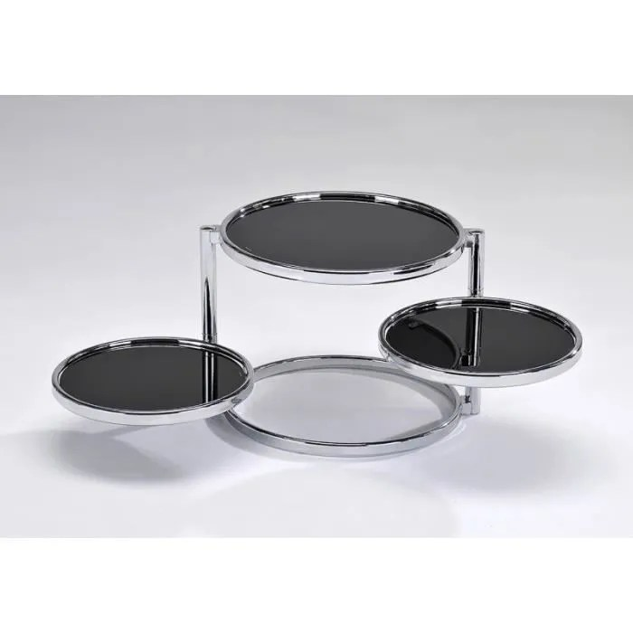 table basse chromee ronde 3 plateaux