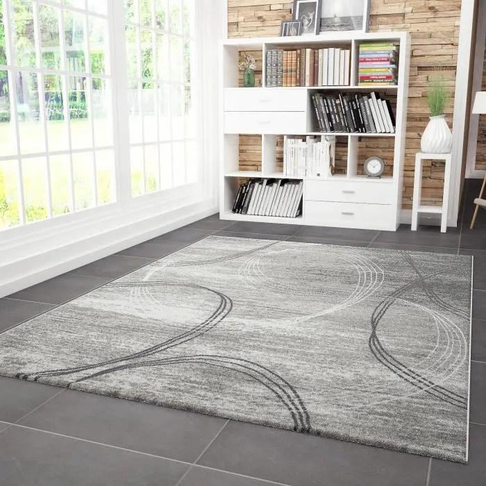 tapis salon tibet gris noir 160x230 cm