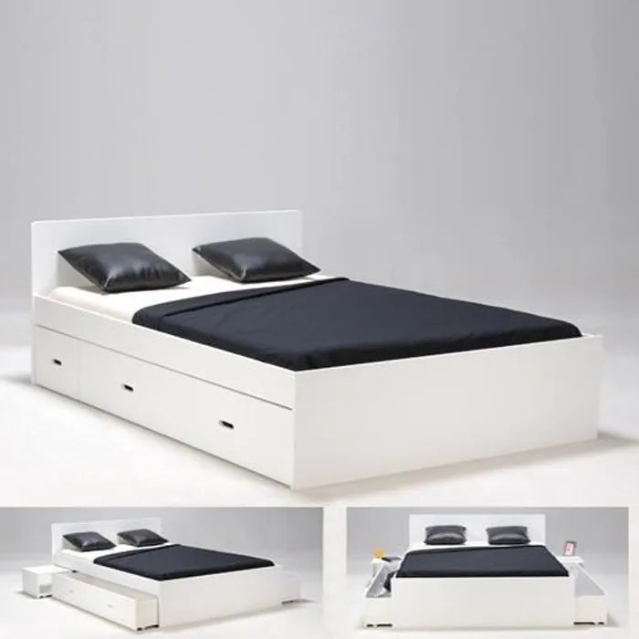 lit double xenia 160x200 2 chevets 2 tiroirs blanc