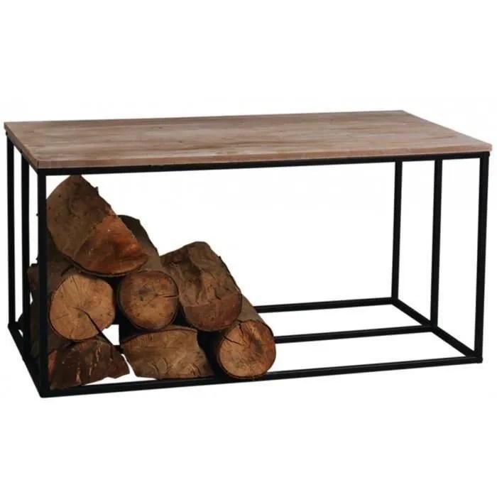table basse porte buches en metal et bois 100 x 50 x 50 cm