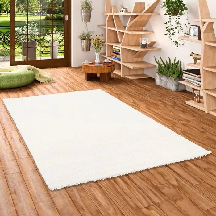 aloha tapis shaggy a poils longs blanc 200x200 cm