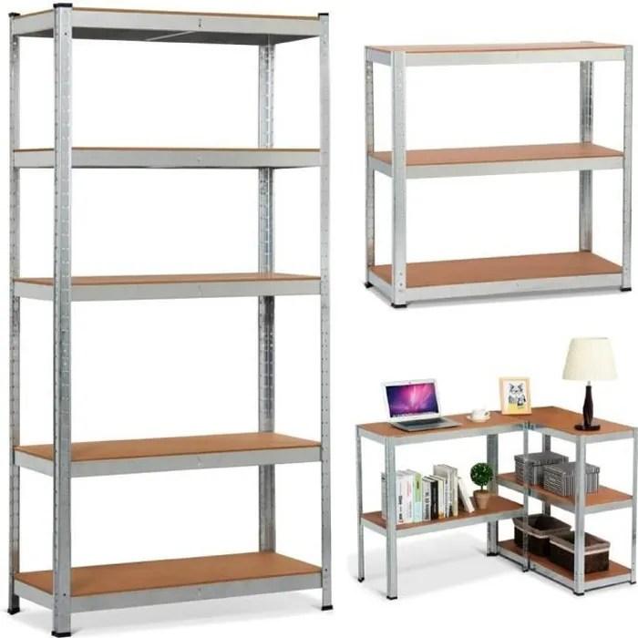 yaheetech 180x90x40cm etagere de rangement metallique sans boulon etagere d atelier garage cuisine 5 niveaux reglable charge