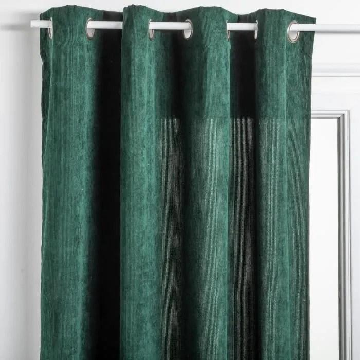 atmosphera rideau en velours cotele coloris vert