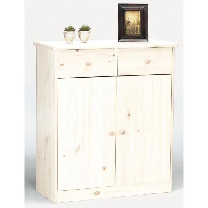 commode avec 2 tiroirs et 2 portes en pin blanc dim 89 x 78 x 35 cm