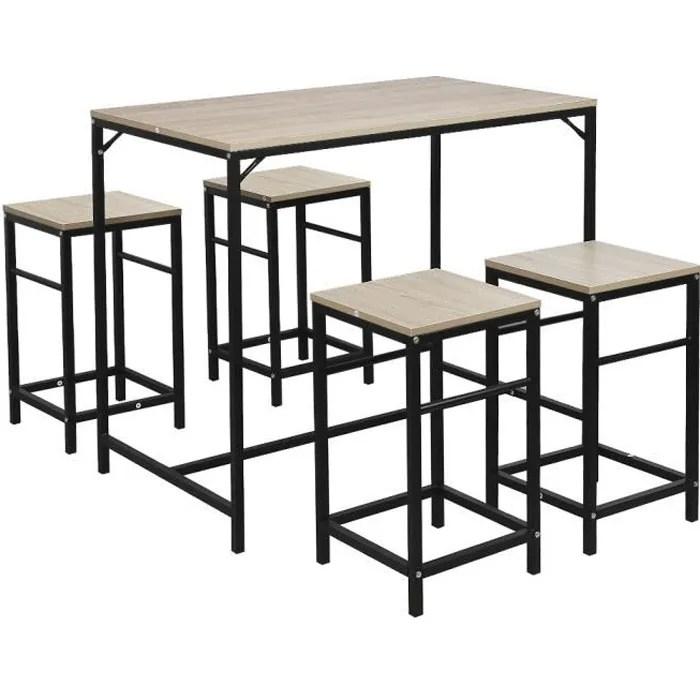 laizere 1 table 4 tabourets ensemble table de bar bistrot 4 tabourets avec repose pieds table mange debout table haute cuisi