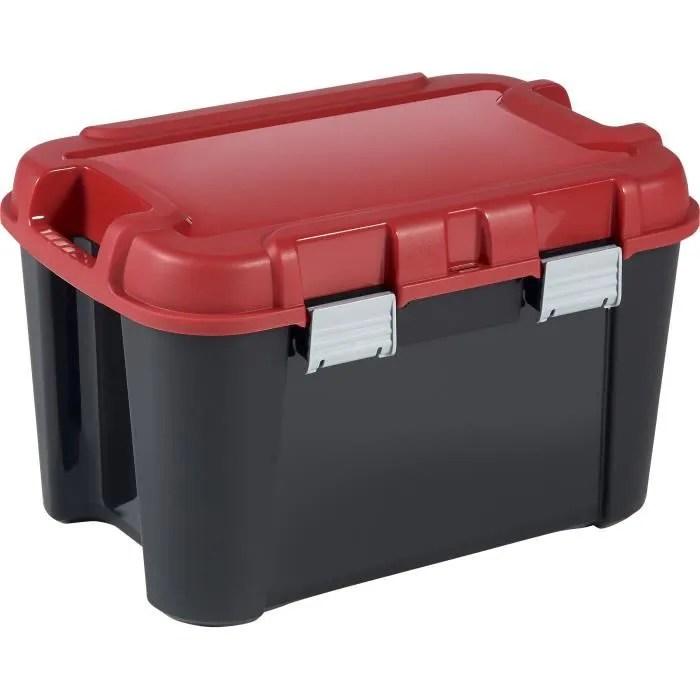 keter malle de rangement totem poignee de transport fond renforce noir et rouge 60 l
