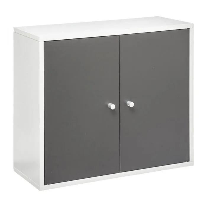 meuble haut salle bain essenzo gris blanc