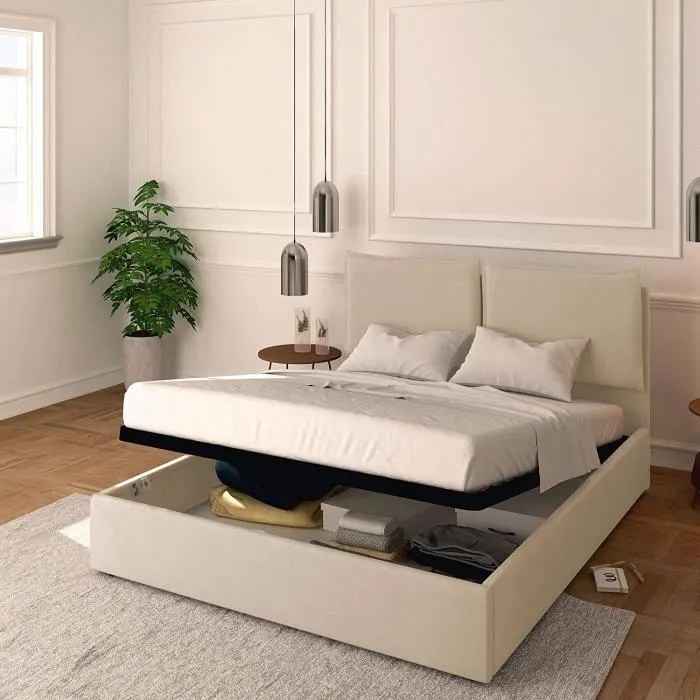baldiflex lit coffre adulte contemporain tissu beige sommier 140 x 200 cm