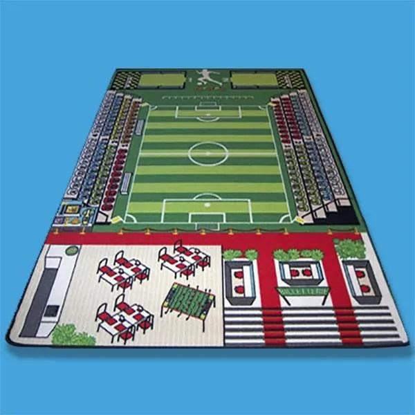 tapis jeu enfant 130 x 200 cm tapitom football terrain de foot avec tribunes vestiaire billetterie