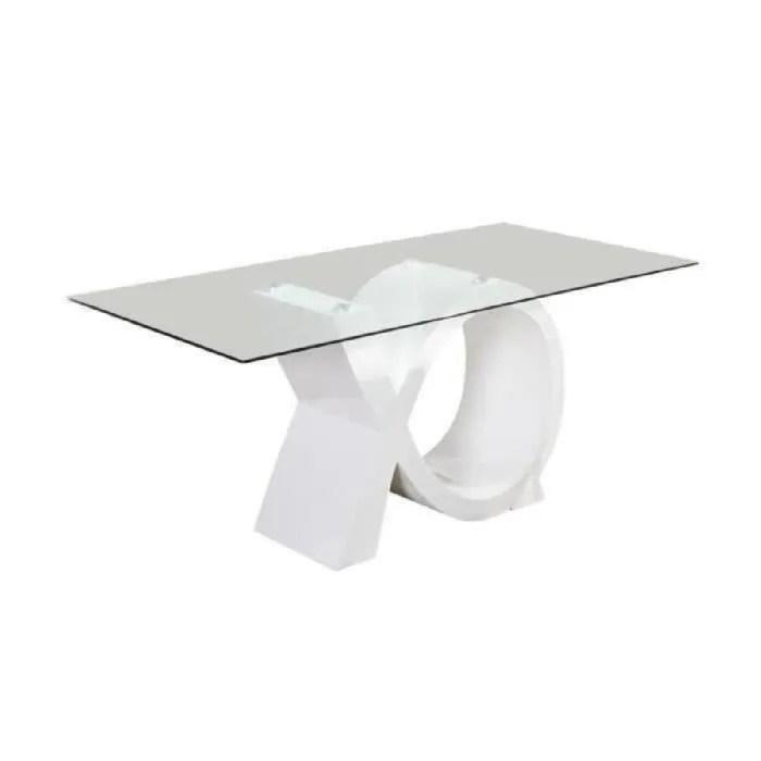 sharon table a manger 180x90cm laque blanc brillant