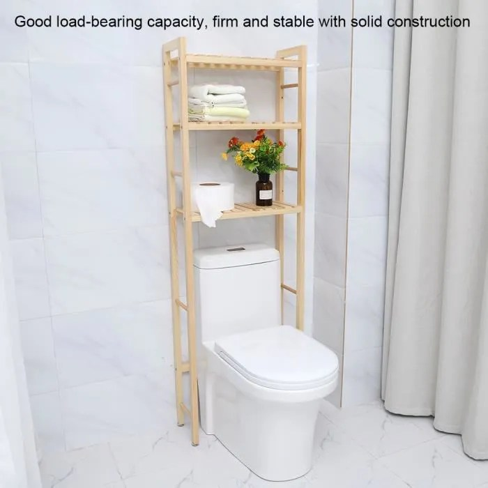 support de rangement de toilette etagere de rangement en bois a 3 niveaux pour toilette salle de bain