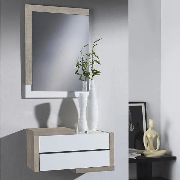 meuble d entree moderne couleur bois clair et blan
