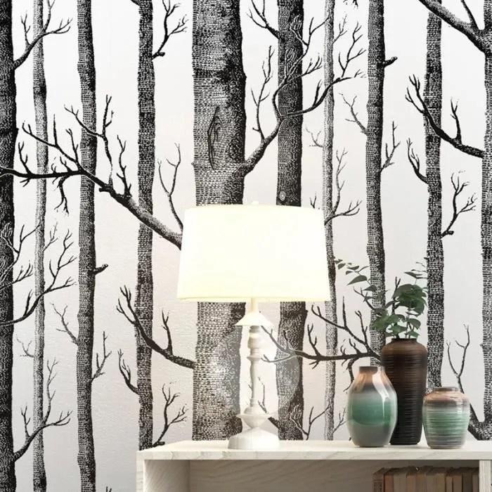 papier peint arbre de bouleau blanc noir pour chambre a coucher design moderne salon papier peint rouleau papier peint bois foret