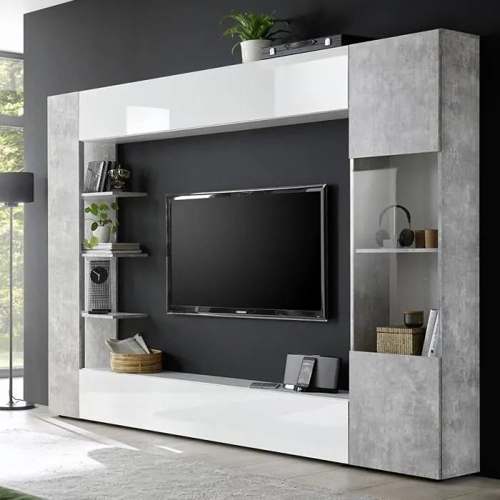 meuble tv mural blanc et gris design fino 2 gris l