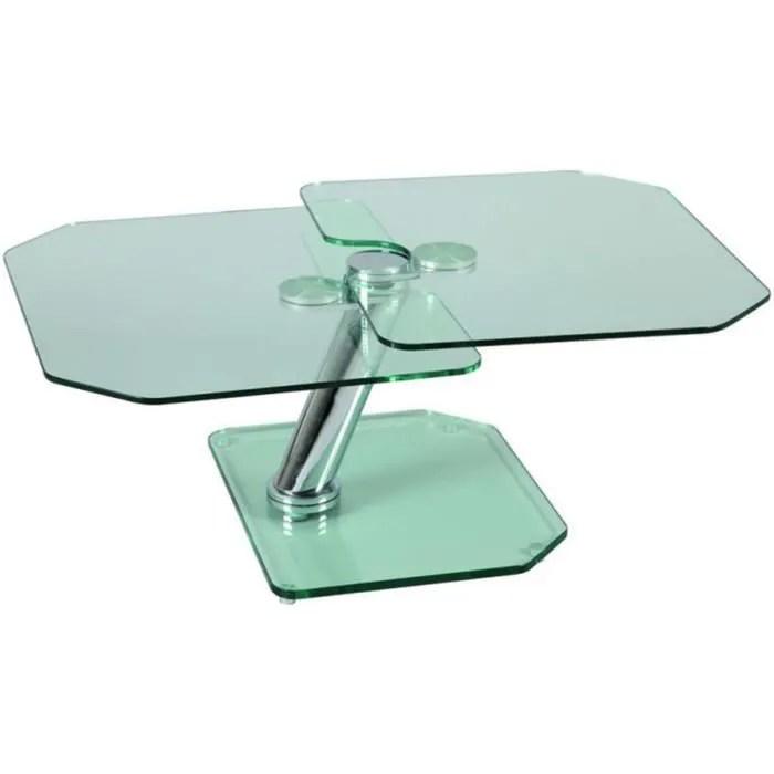 table basse verre pied et plateau en verre trempe