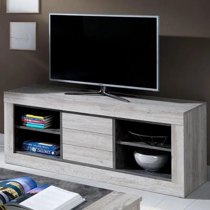 meuble tele 150 cm contemporain couleur bois nathan gris l 145 x p 45 x h 55 cm