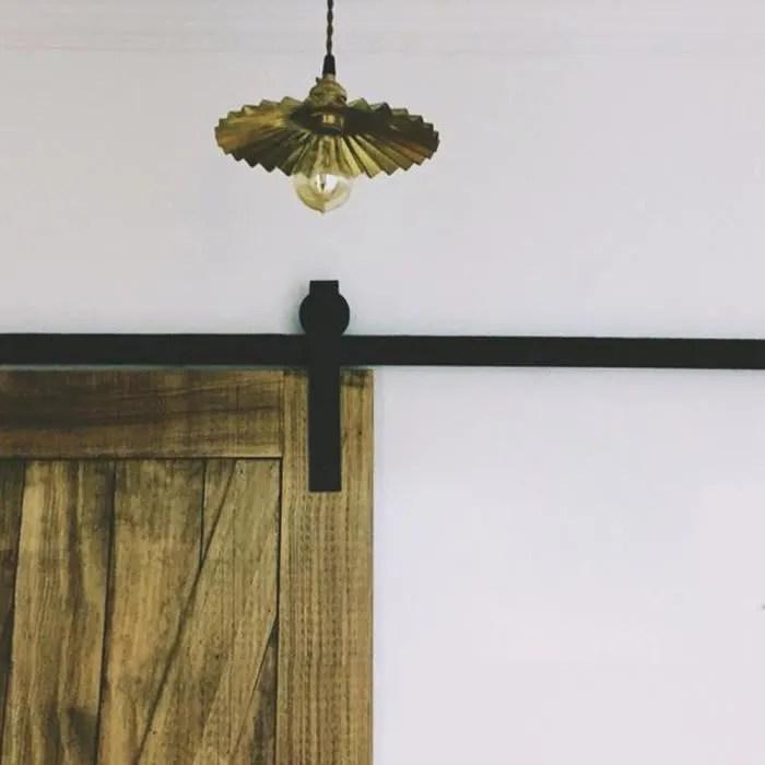 cr rail porte coulissante suspendue plafond 200cm 6 6ft noir ccjh kit rail coulissant armoire placard convient a 2 portes
