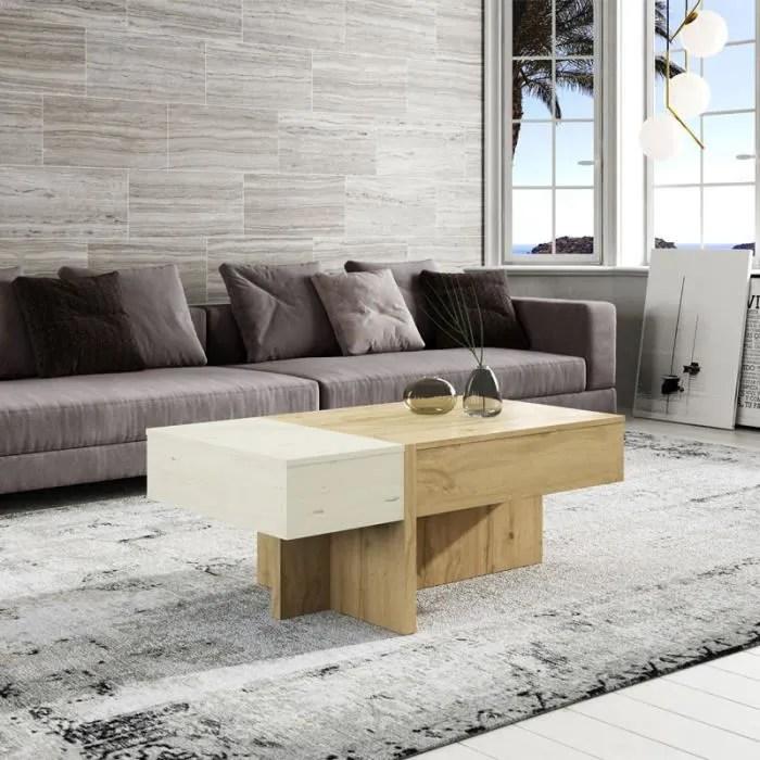 table basse relevable bois blanc chene blond ajar l 110 x l 60 x h 44 58