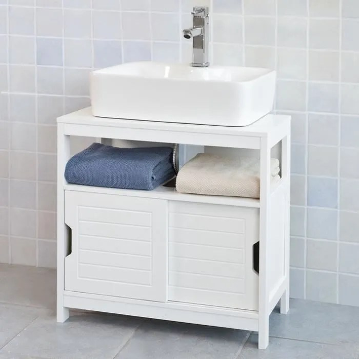 Sobuy Frg128 W Meuble Sous Lavabo Meuble De Salle De Bain Vasque 1 Etage Et 2 Portes Coulissantes Blanc Achat Vente Meuble Vasque Plan Frg128 W Meuble Sous Lavabo Soldes Sur