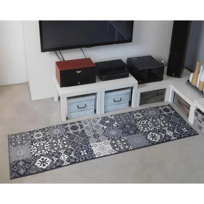 tapis couloir patchwork carreaux ciment gris debon