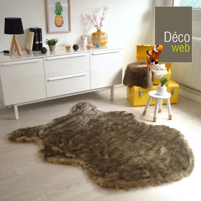 tapis imitation peau ours brun 120 x