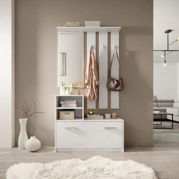 meuble entree vestiaire entree ambre 85 cm blanc mat style classique avec armoire a chaussures