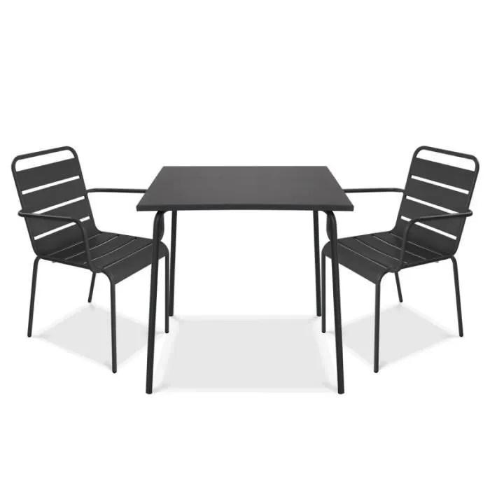 ensemble table et 2 chaises avec accoudoirs en metal set terrasse 2 personnes collection palavas