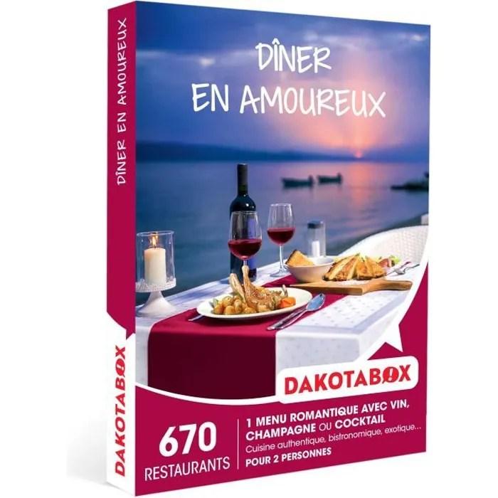 dakotabox coffret cadeau diner en amoureux 1 repas romantique avec vin champagne ou cocktail pour 2 personnes