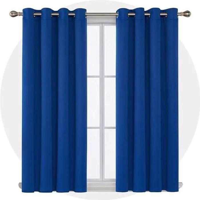 deconovo lot de 2 rideaux bleu roi a oeillets ther