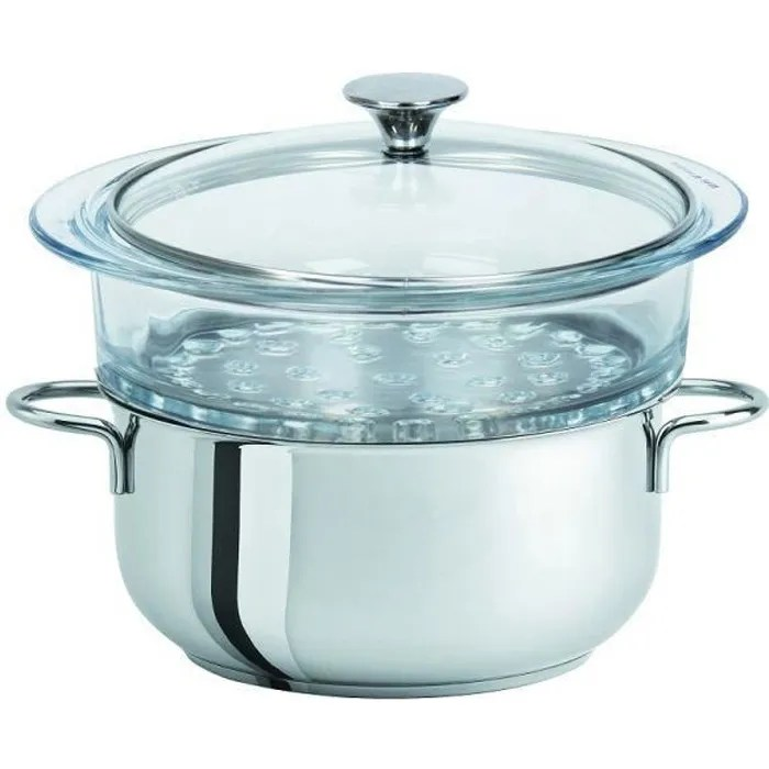 faitout inox element cuit vapeur en verre 24 cm avec couvercle cristel