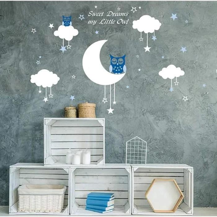 aiyang blanc mur autocollants lune etoiles nuages