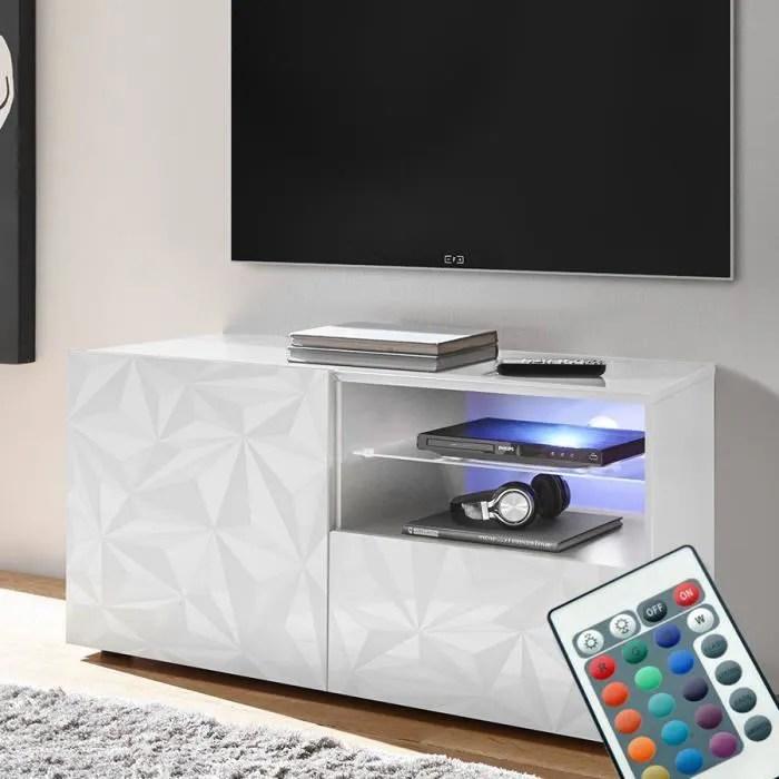 meuble tv led 120 cm laque blanc design paolo blan