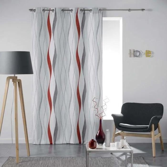 double rideaux rouge et gris