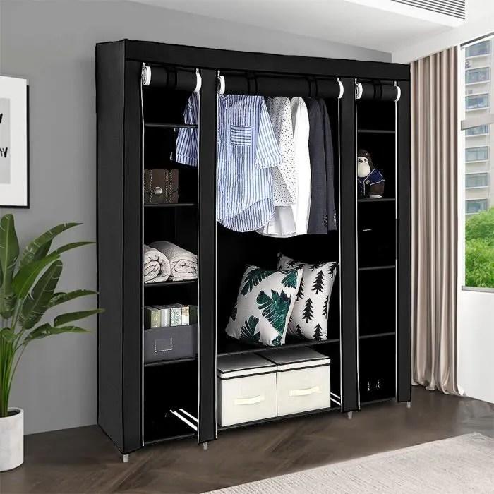 oobest armoire de rangement noir dressing grande capacite xxl