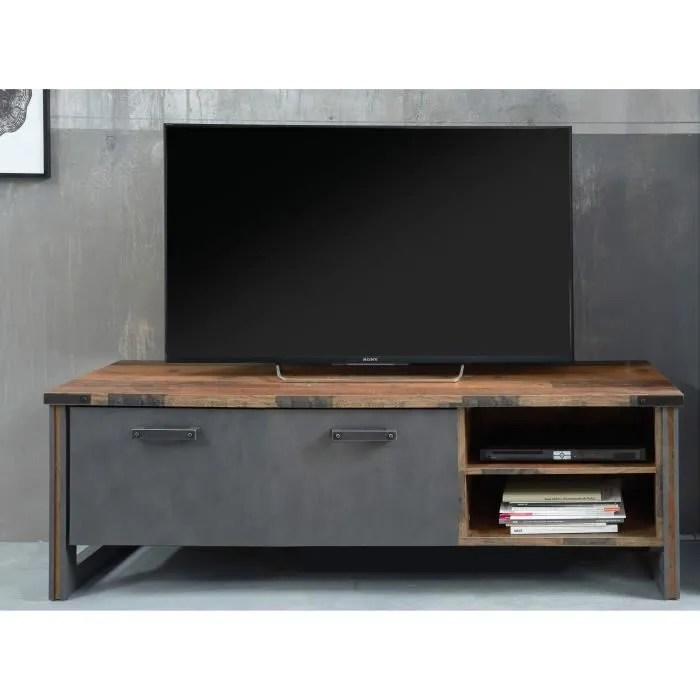 prime meuble tv decor bois patine