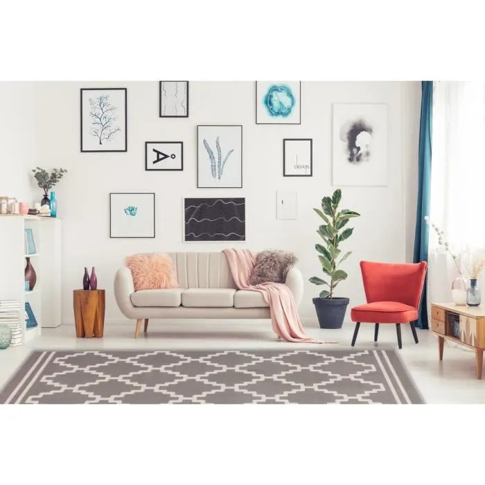 tapis design scandinave taupe ivoire 80x150cm