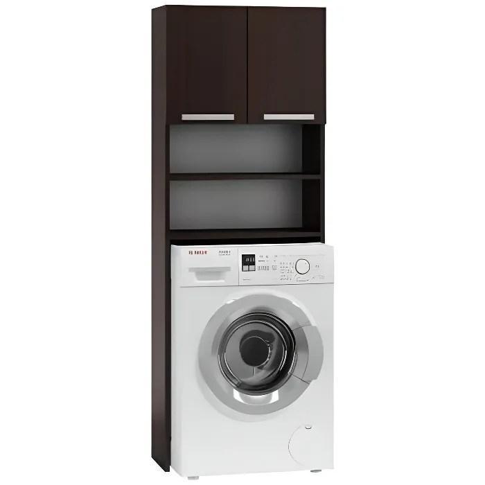 como meuble pour machine a laver 64x183x30 espace de rangement buanderie lave linge salle de bain avec placard etageres wenge