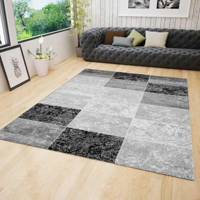 tapis salon marbre gris 160x230 cm