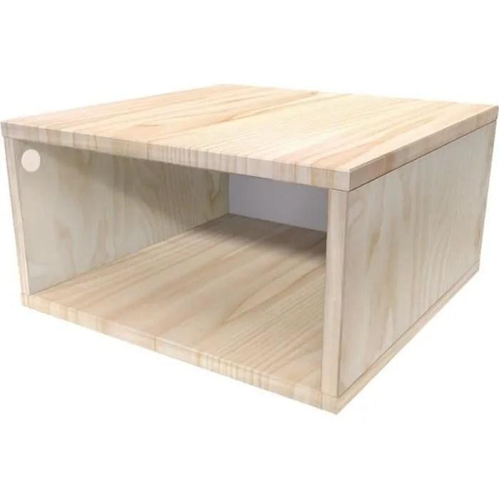 cube de rangement bois largeur 50 cm couleur brut dimensions 50x50