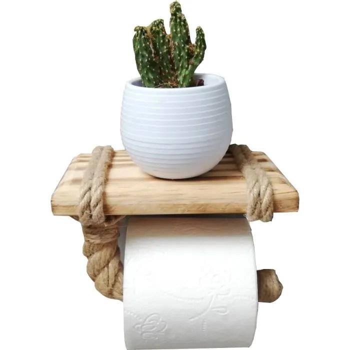 solenzo derouleur porte papier toilette avec etagere tablette en bois et corde pour telephone ou deco