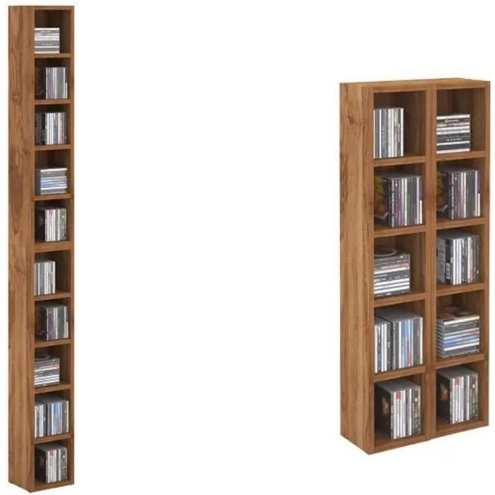 etageres modulables musique pour cd et dvd lot de 2 meubles de rangement en colonne avec 10 compartiments en melamine couleur noyer