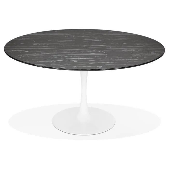 table a manger shadow ronde en verre noir effet marbre et pied central blanc o 140 cm