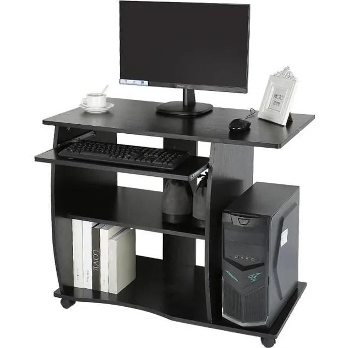 bureau pour ordinateur meuble pc informatique tablette clavier a 4 roulettes noir