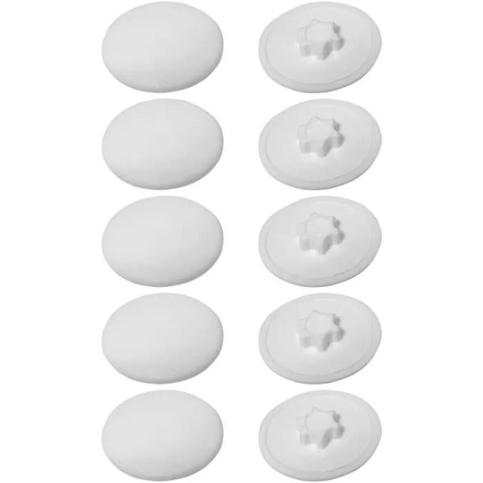 10x cache vis plastique torx t10 12mm blanc capuch