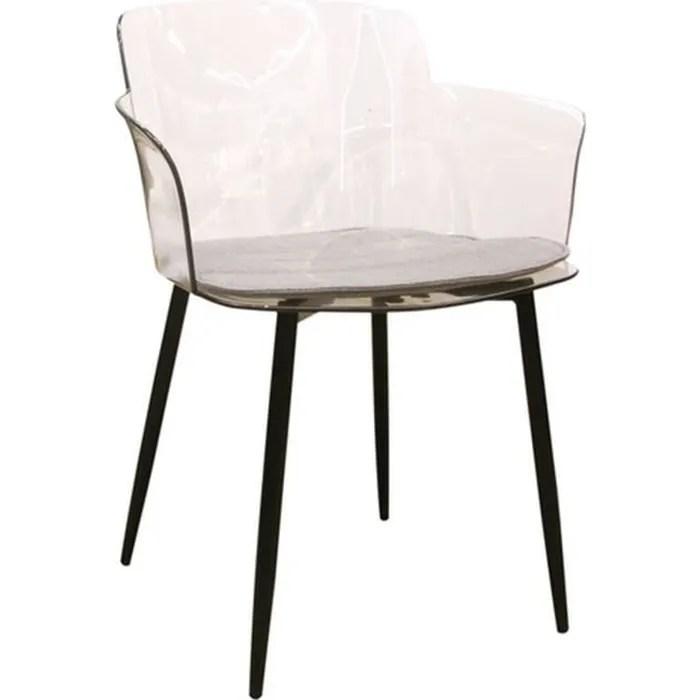fauteuil de table design transparent lilia noir
